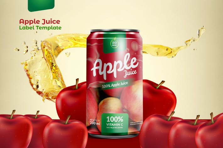Thumbnail for Juice Can Packaging Template