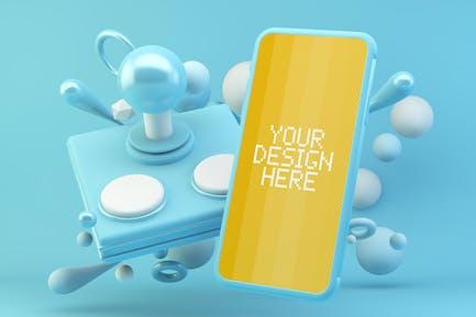 Mobile Blue Joystick Mockup