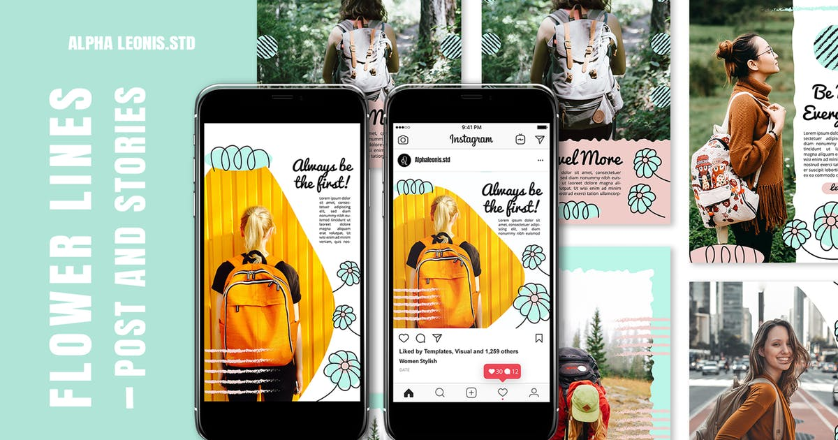 Download Instagram Templates - Flower Lines by alphaleonis_std