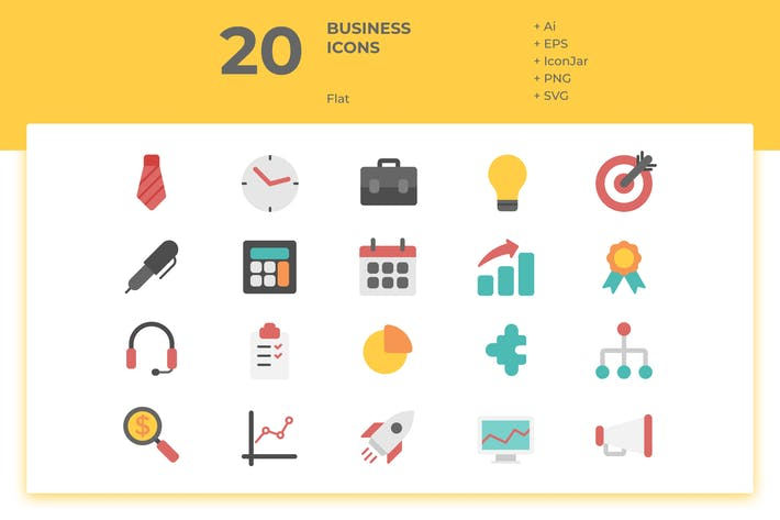 Thumbnail for 20 Business Icons Vol. 1 (Flat)