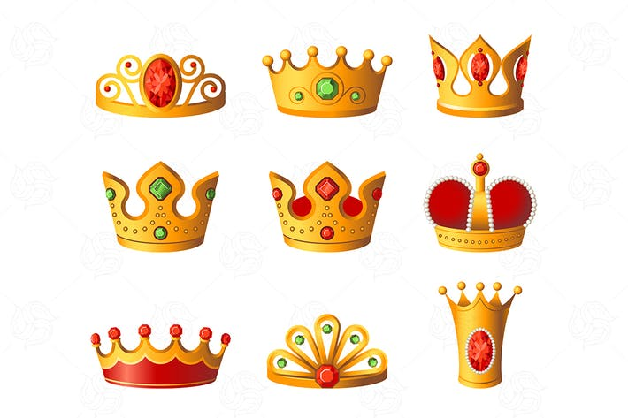 Thumbnail for Crowns - realistic vector set of royal headgear