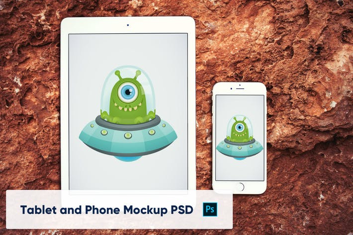 Thumbnail for Phone and Tablet on Stone Background - Mockup PSD