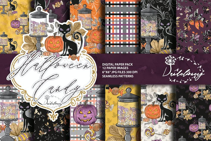 Thumbnail for Halloween Candy digital paper pack