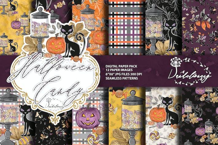 Thumbnail for Halloween Candy Digitalpapier Pack