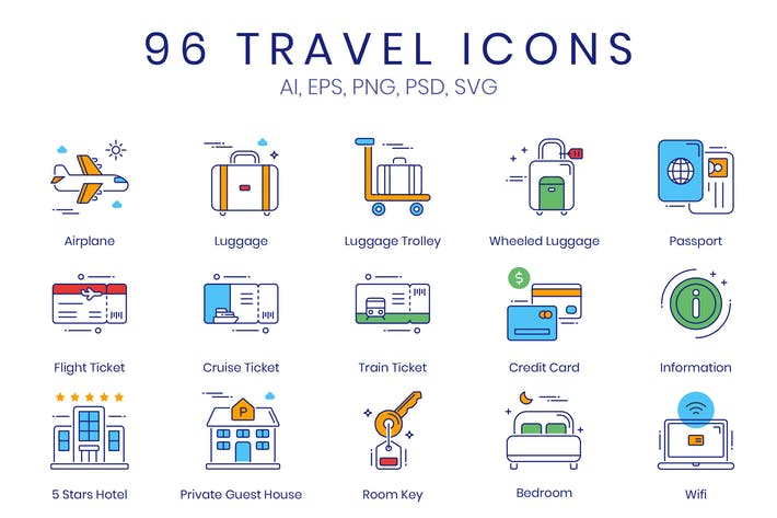 96 Travel & Tourism Icons