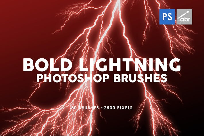 Thumbnail for 30 Bold Lightning Photoshop Stamp Brushes