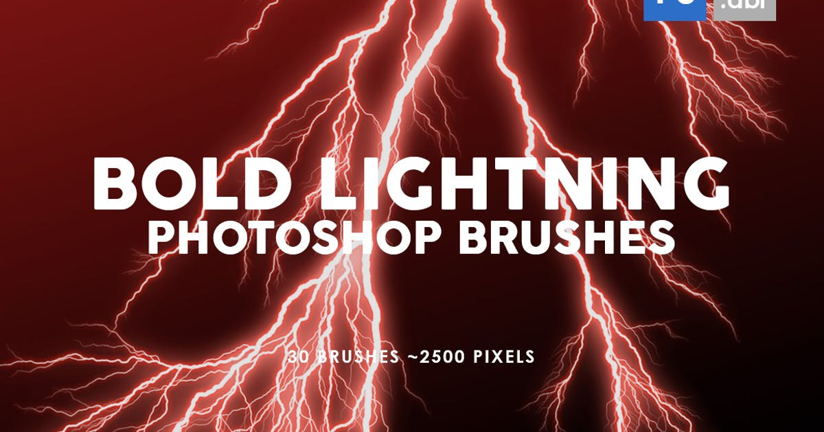 Download 30 Bold Lightning Photoshop Stamp Brushes by M-e-f