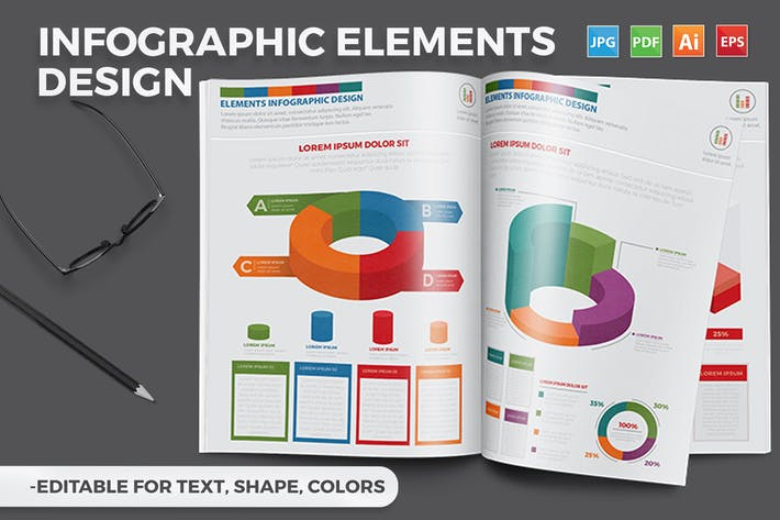 Thumbnail for 3D Infographics A4 Template Design