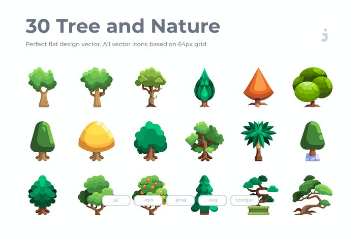 Thumbnail for 30 Tree Icons - Flat