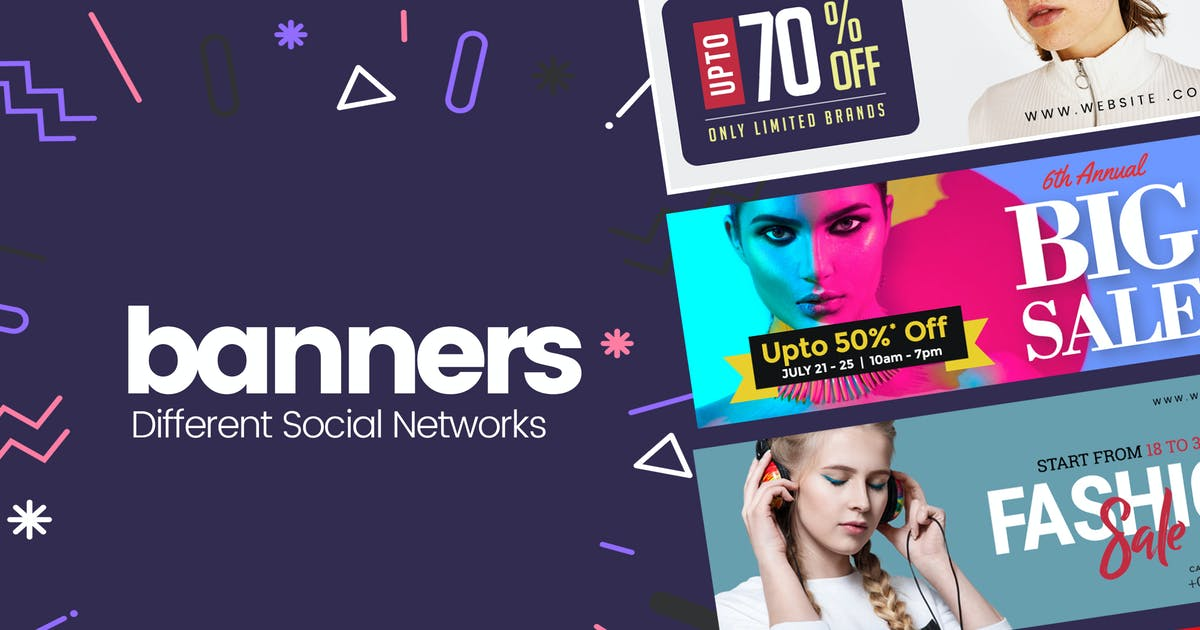 Download Social Media Banner For Promotional PSD Templates by mexopixel