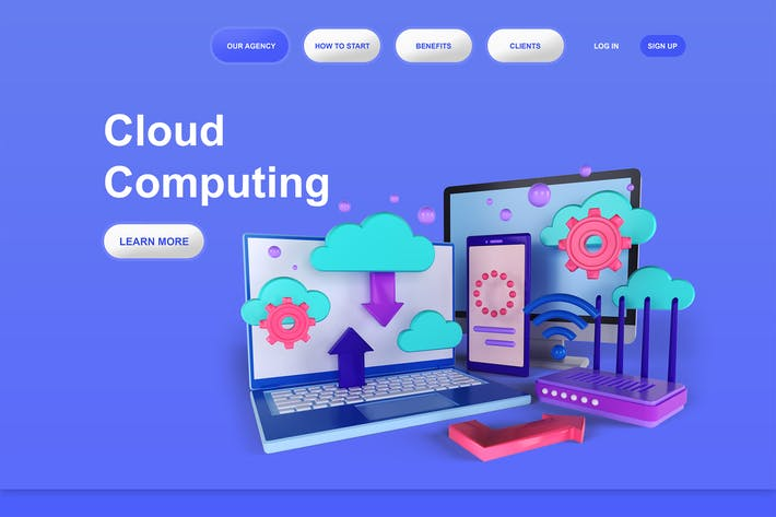 Thumbnail for Cloud Computing 3D Illustration Landing Page