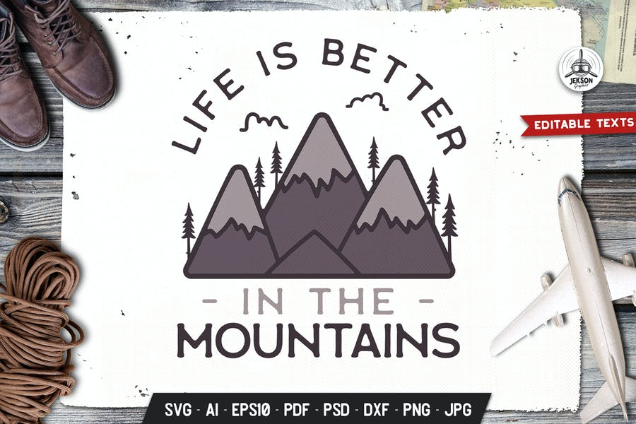 Mountain Life Logo Badge Vector Travel Graphic SVG