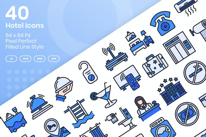 Thumbnail for 40 Hotel Icons Set - Filled Line