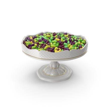 Ausgefallene Porzellanschale mit tropischen Jelly Beans