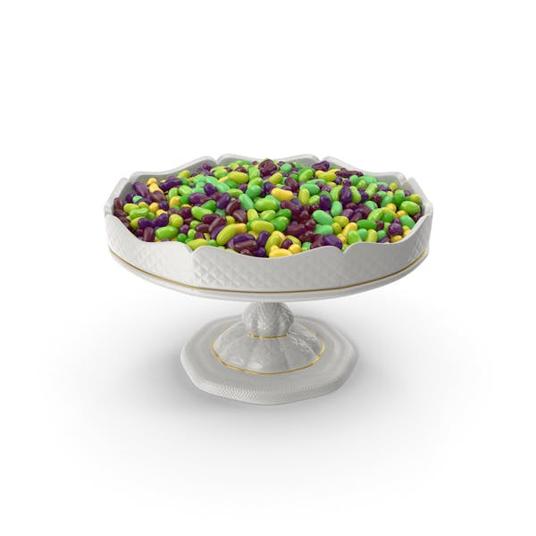 Fancy Porcelain Bowl With Tropical Flavored Jelly Beans