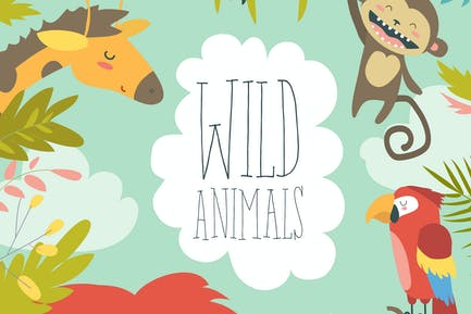 Happy jungle animals creating a framed background.