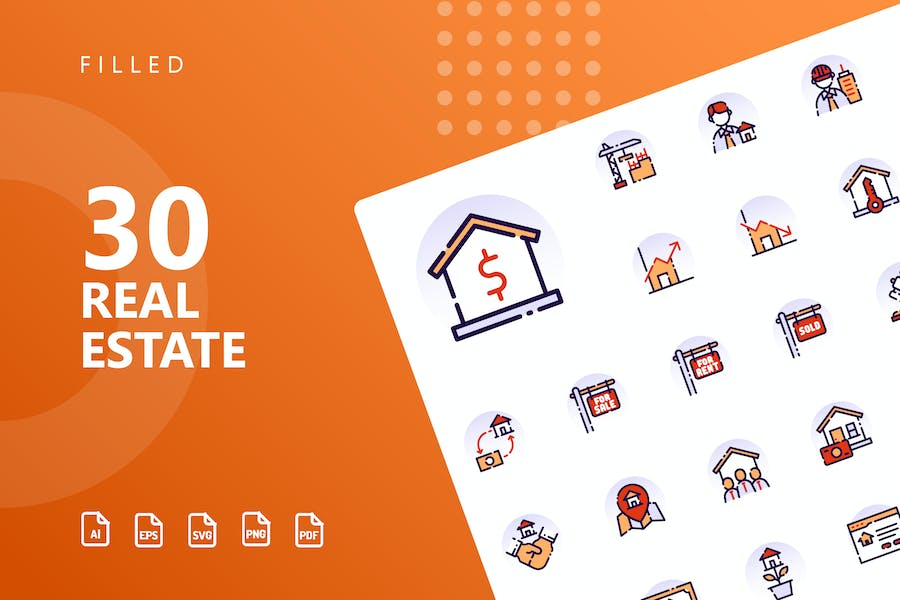 Real Estate Filled Icons