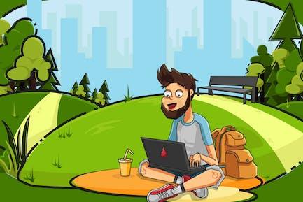 Freelancer in City Park