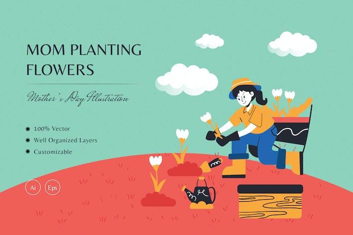 Mama pflanzt Blumen Illustration