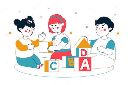 Children Playing Blocks - Line Illustration