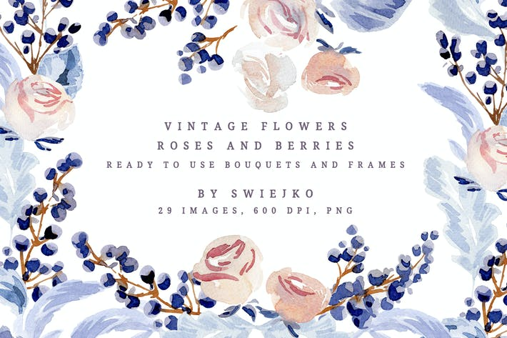 Thumbnail for Vintage Watercolor Flowers, Roses and Berries