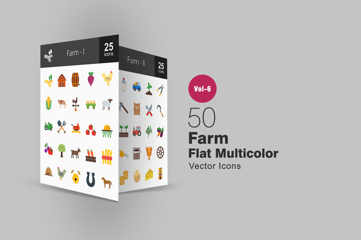Thumbnail for 50 Farm Flat Multicolor Icons