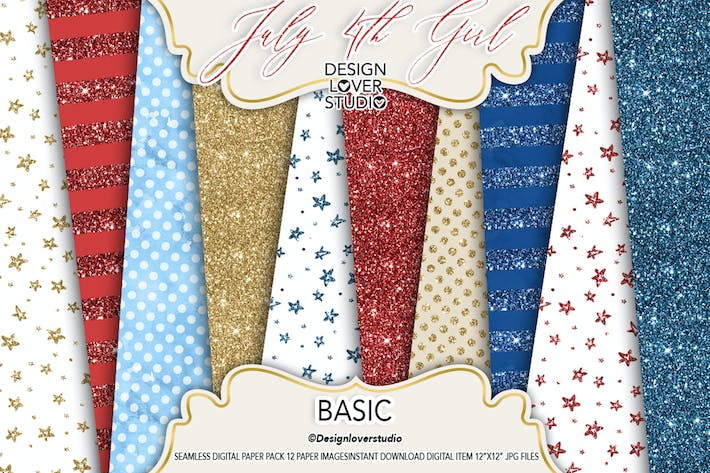 Thumbnail for 4th of July digital paper pack Basic