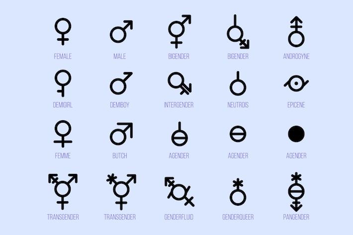 Thumbnail for Gender Diversity Monochrome Icons Set