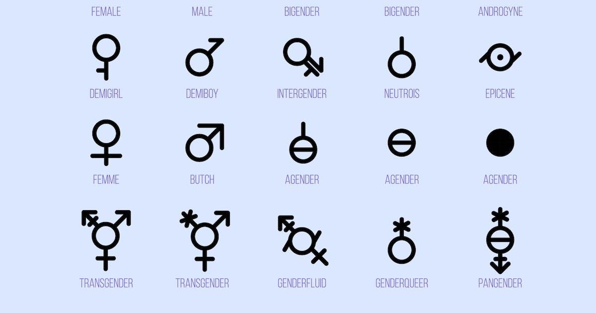 Download Gender Diversity Monochrome Icons Set by barsrsind