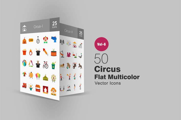 Thumbnail for 50 Circus Flat Multicolor Icons