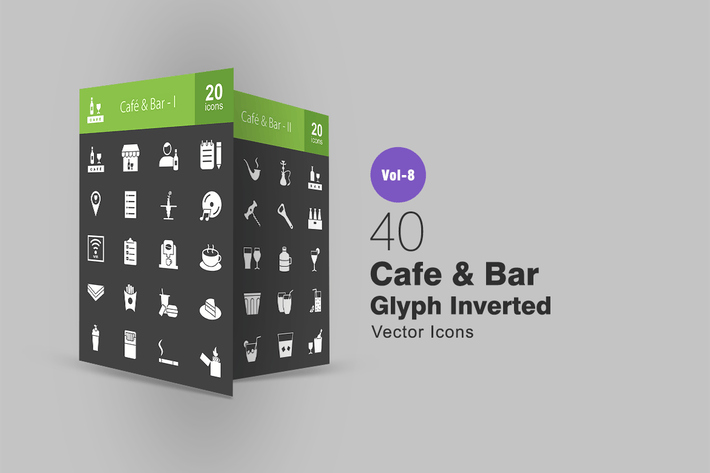 Thumbnail for 40 Cafe & Bar Glyph Inverted Icons