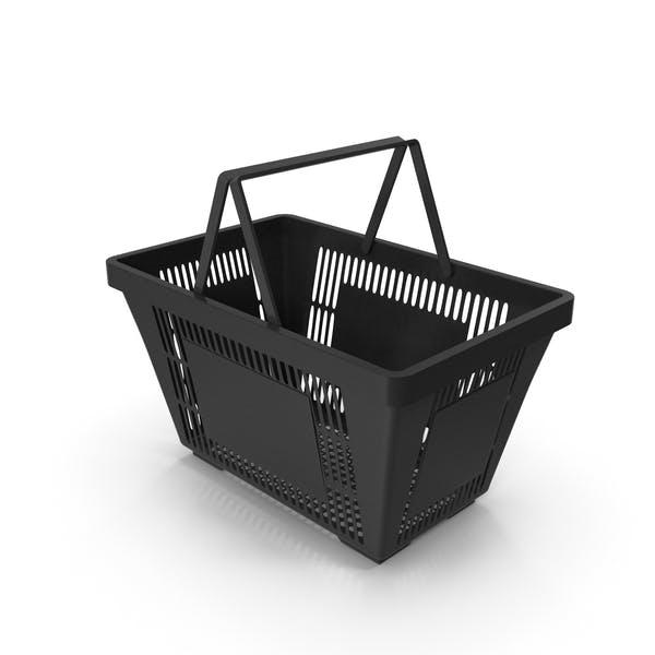 Черная корзина для покупок с пластиковыми ручками