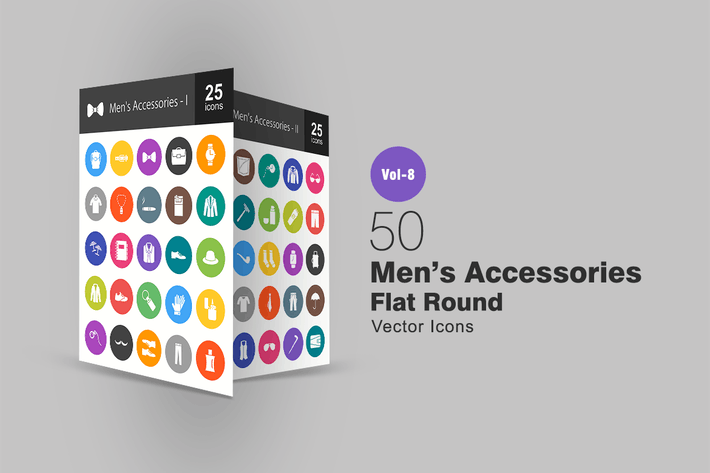 Thumbnail for 50 Men's Accessories Flat Round Icons