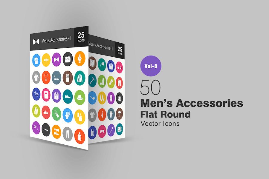 50 Men's Accessories Flat Round Icons