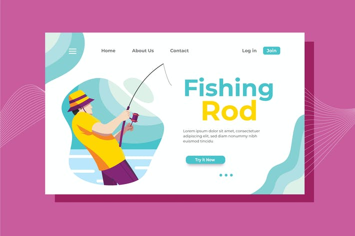 Cover Image For Fishing Rod Landing Page Illustration
