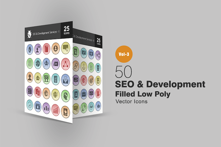 Thumbnail for 50 SEO & Development Filled Low Poly Icons