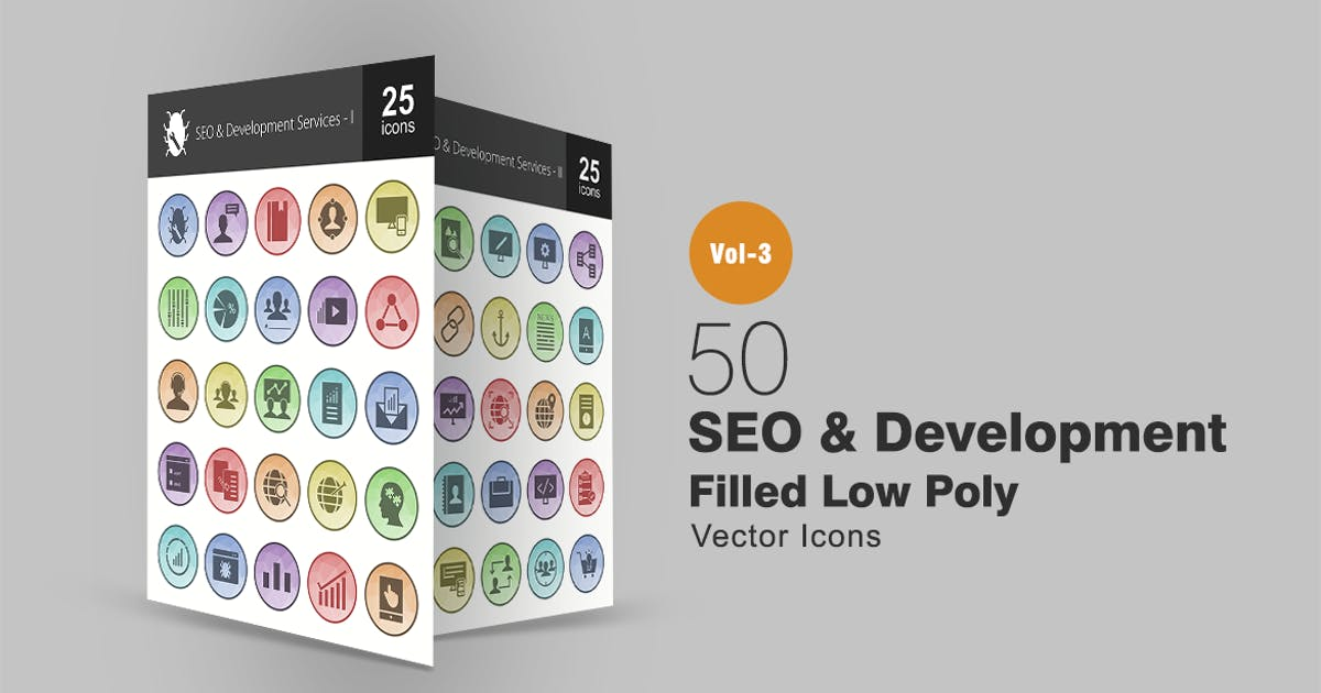 Download 50 SEO & Development Filled Low Poly Icons by Unknow