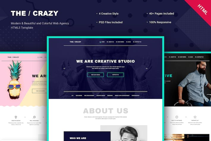 Cover Image For The Crazy - Creative Agency HTML5 Template