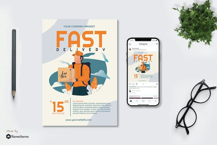 Thumbnail for Fast Delivery - Creative Flyer & Instagram Post GR