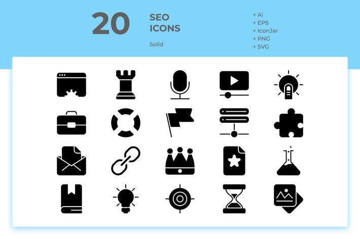 Thumbnail for 20 SEO Icons Vol. 1 (Solid)