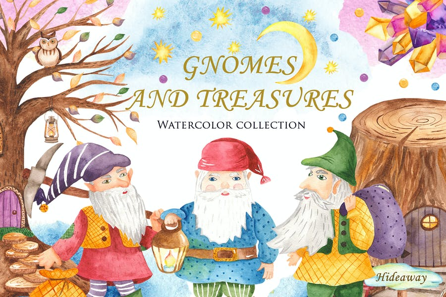 Watercolor Gnomes and Treasures