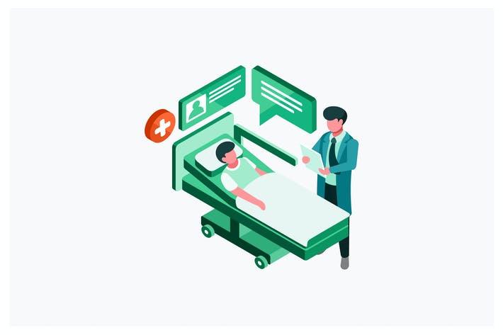 Cover Image For Isometric Doctor and Patient Vector Illustration