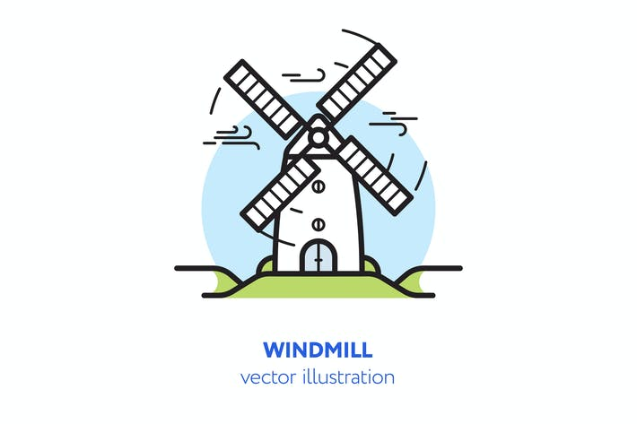Thumbnail for Windmill vector illustration