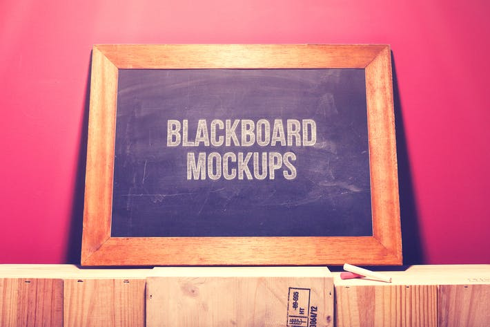 Cover Image For Blackboard / Chalkboard Mock-ups with Chalk Action