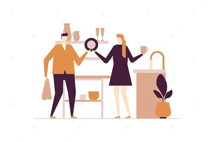 Thumbnail for Couple washing dishes - flat design illustration