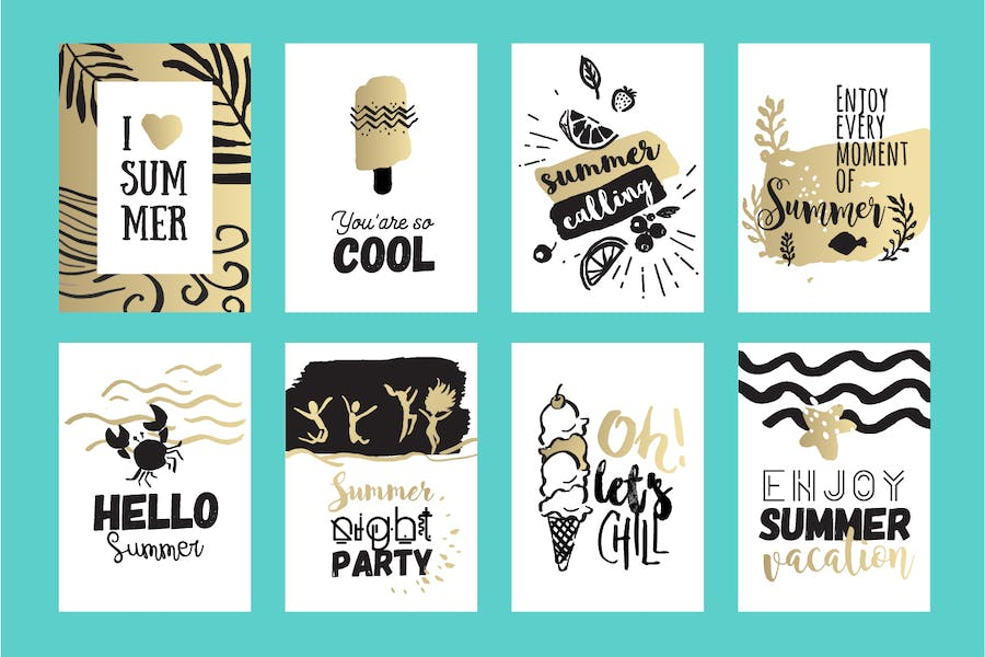 Set of hand drawn summer cards and banners