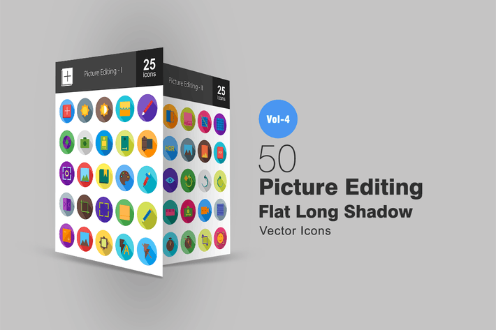 Thumbnail for 50 Picture Editing Flat Shadowed Icons