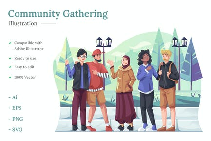 Community Gathering Illustration