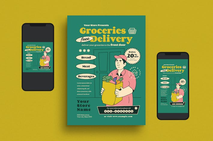 Thumbnail for Groceries Delivery Flyer Set