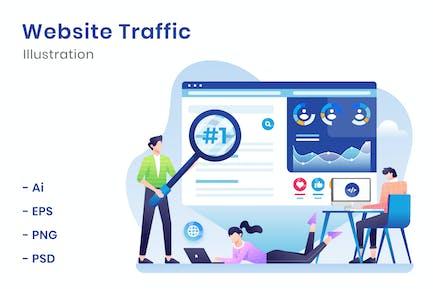 Ilustración del tráfico del sitio web